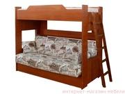 Кровать детская двухъярусная с диван-кроватью.
